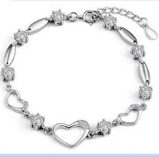 gold plated silver heart bracelet images Latest platinum white gold plated sterling silver 925 bracelet
