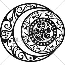 abstract pattern crescent moon and sun symbol gl stock images