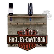 96803 14v harley davidson trademark b u0026s wooden wine rack