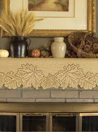 cut lace mantel scarf adorned with autumn leaves to decorate your