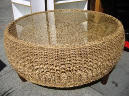 wicker end tables sale hotel caribe round ottoman coffee table gray rattan ottoman round