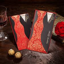 Red And Black Wedding Aliexpress Com Buy Red And Black Wedding Invitations Luxury