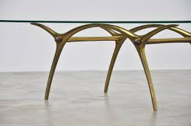 italian brass coffee table with sculptural base 1950 mid mod design