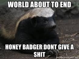 Meme Honey Badger - world about to end honey badger dont give a shit honey badger