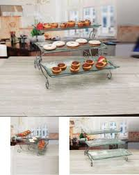 glass serving platter 3 tier cake stand plate tray party catering