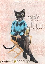 beer cat card here u0027s to you greeting cards for men dad