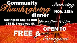 covington sets the date for the annual free thanksgiving dinner