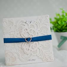 blue wedding invitations laser cut wedding invitations with royal blue rhinestone
