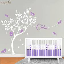 Wall Decals Baby Nursery White Tree Wall Decal Vinyl Sticker Nursery Tree Wallpaper