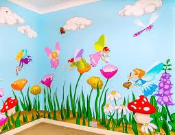 bright and colourful fairies mural sacredart murals cute colourful fairies wall mural with flowers and mushrooms