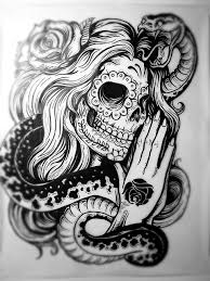 amazing design sugar skull lade with in hair