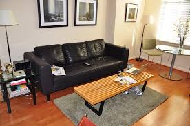 Living Room Decorating Ideas With Black Leather Furniture Black Leather Sofa And Black Wooden Table On The Brown Wooden