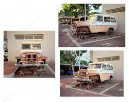 vintage willys jeep old willys jeep station wagon without wheels stands on stilts