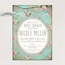 shabby chic baby shower invitation printed digital invite or