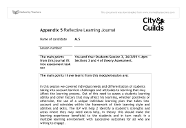 you and your students reflective learning journal ptlls a level