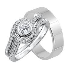 Trio Wedding Ring Sets by His And Hers Wedding Trio Ring Sets Look Real U2013 Laraso U0026 Co