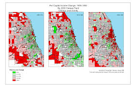 University Of Chicago Map by Income Change Chicago And Vicinity 1969 1999