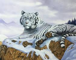 white tiger painting etsy