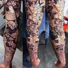 black ink guys cherry blossom sleeve tattoo sleeves pinterest