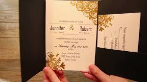 pocket wedding invites black and gold glitter pocket wedding invitations ewpi199