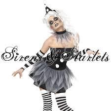 ladies new zombie pierrot clown halloween goth fancy dress