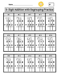 3 digit addition worksheets with regrouping 3 digit minus