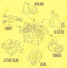salad cuisine infographic ingredient icons handdrawn sketch free