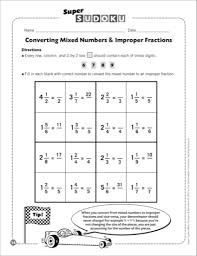 converting mixed numbers to improper fractions worksheets worksheets