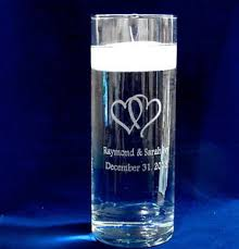 Vases With Floating Candles Personalized Glass Unity Candle Vase With Floating Candle And