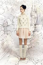 cream embroidered red valentino sweaters light pink tulle red
