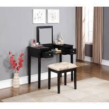 bedroom elegant brown wood makeup vanity set with lights and