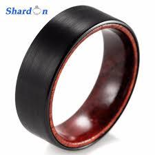 wood rings wedding shardon 8mm black tungsten inner wood ring with matte