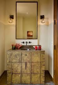 brushed nickel mirror bathroom mediterranean with beige door