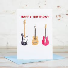 happy birthday bass acoustic electric guitar card by yellowstone