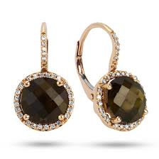 smoky quartz earrings dabakarov 14krg smoky quartz diamond leverback earrings