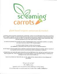 screaming carrots menu menu for screaming carrots hollywood