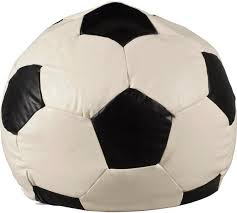 buy home xl leather effect football beanbag black u0026 white at