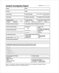 Incident Investigation Report Template by 9 Investigation Report Templates Free Sle Exle Format