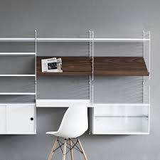 string shelving system with wooden shelves u2014 haus
