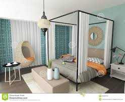 modern eclectic bedroom interior design stock illustration image