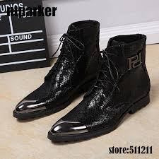 luxury italian western black military boots leather high heels