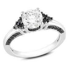 black sapphire engagement rings 6 5mm lab created white sapphire and 1 3 ct t w enhanced black