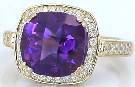 blue amethyst rings images Cushion cut amethyst and diamond ring with lattic gallery in jpg