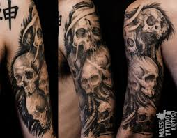 Two Flag Tattoos Skulls With American Flag Tattoo On Sleeve