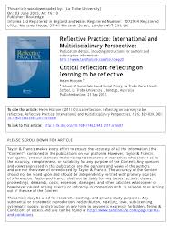 critical reflection reflecting on learning to be reflective