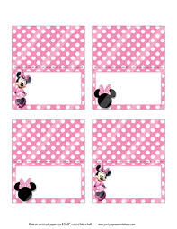 minnie mouse card table pink minnie mouse food tents cards party place cards