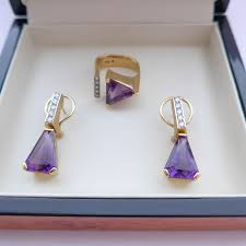 70 s earrings stunning vintage modernist 70 s 18ct gold diamond amethyst