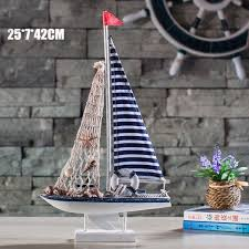 Marine Home Decor Nautical Decors Marine Wooden Wood Blue Sailing Boat Ship Model