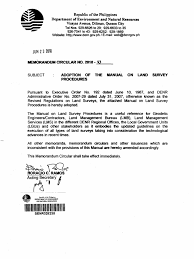 denr memo circ 2010 13 manual of land survey procedures