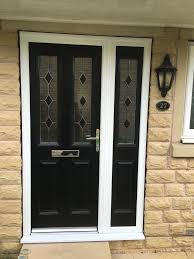 Front Doors With Glass Side Panels A Cardiff Black Composite Door With Matching Side Panel Doors